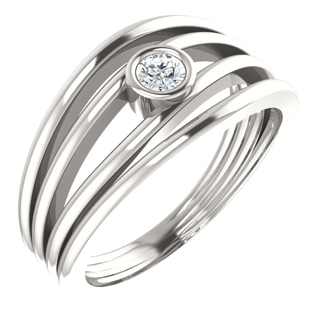Beautiful Sterling Silver 0.12 Carat Total Weight Diamond Ring