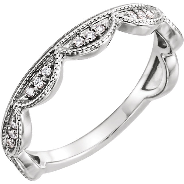 Low Price on Sterling Silver 0.12 Carat TW Diamond Stackable Ring