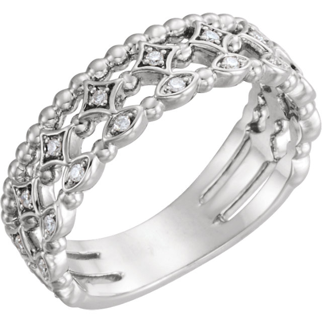 Genuine Sterling Silver 0.12 Carat TW Stackable Diamond Ring
