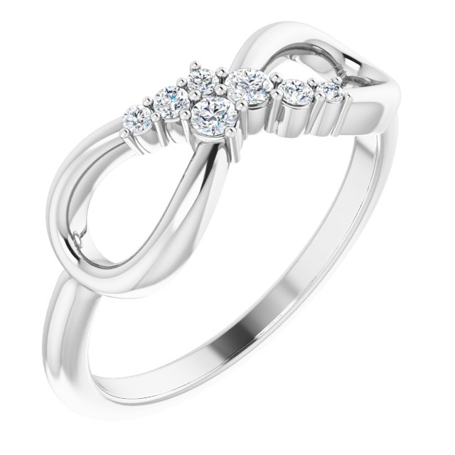 Genuine Diamond Ring in Sterling Silver 1/8 Carat Diamond Infinity-Inspired Ring