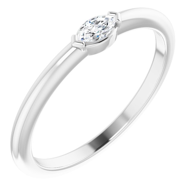 Genuine Diamond Ring in Sterling Silver 1/8 Carat Diamond Solitaire Ring