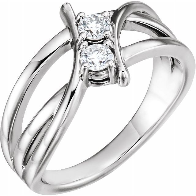 Real Diamond Ring in Sterling Silver 1 Carat DiamondTwo-Stone Ring