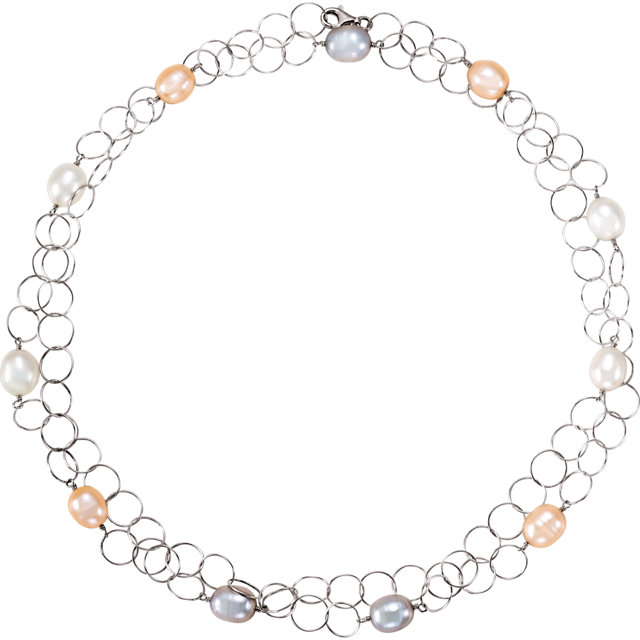 Fine Sterling Silver Freshwater Multi-Colored Pearl 40