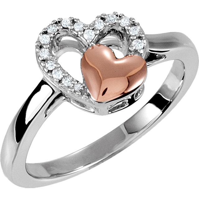 Sterling Silver & 10K Rose 1/10 Carat Total Weight Diamond Heart Ring Size 6