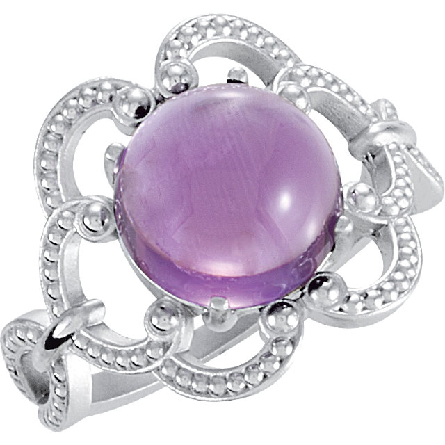 Contemporary Sterling Silver 10mm Granulated Design Amethyst Ring