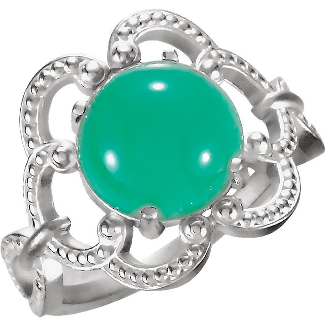 Wonderful Sterling Silver 10mm Granulated Design Chrysoprase Ring
