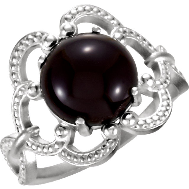 Easy Gift in Sterling Silver 10mm Granulated Design Onyx Ring