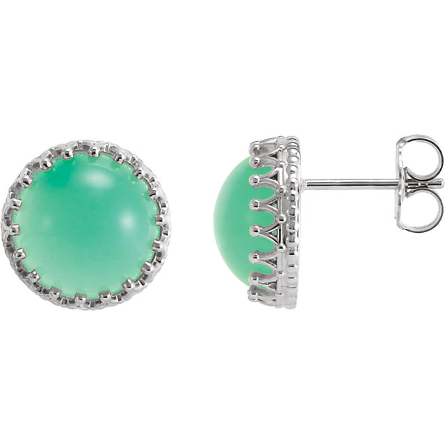 Great Buy in Sterling Silver 10mm Round Chrysoprase Earrings