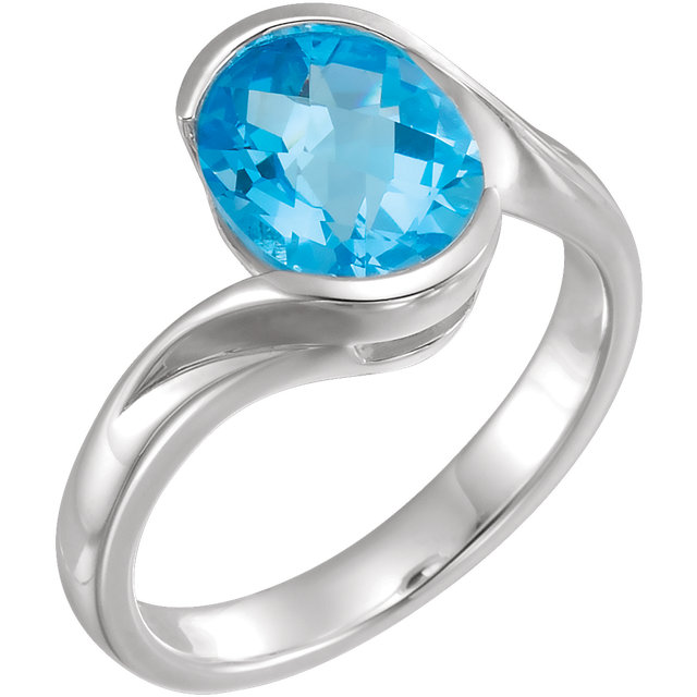 Terrific Sterling Silver 10x8mm Checkerboard Oval Genuine Swiss Blue Topaz Ring