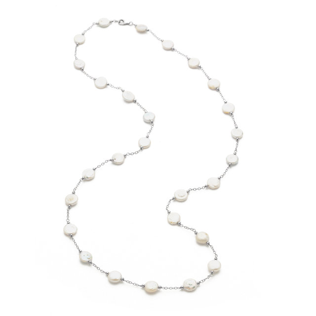 Appealing Jewelry in Sterling Silver 12-13mm Freshwater Cultured White Coin Pearl Station 38