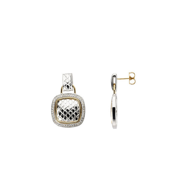 Gorgeous Sterling Silver & 14 Karat Yellow Gold 0.50 Carat Total Weight Diamond Earrings