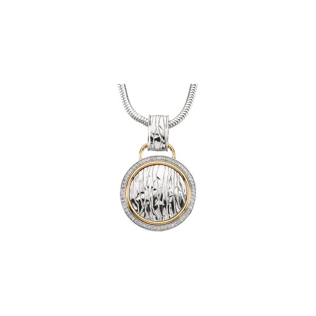 Perfect Gift Idea in Sterling Silver & 14 Karat Yellow Gold 0.33 Carat Total Weight Diamond Elephant Skin Design 18