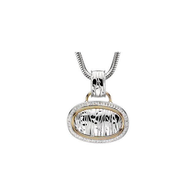 Sterling Silver & 14 Karat Yellow Gold 0.33 Carat Diamond Zebra Skin Design 18