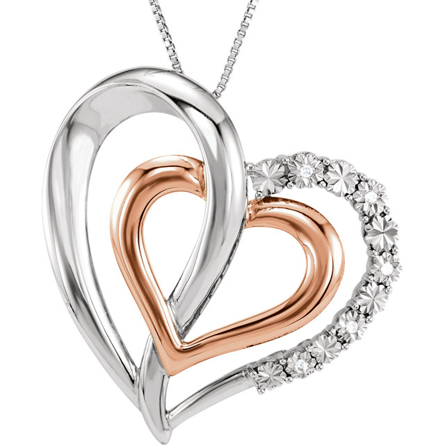 Beautiful 14 Karat Rose Gold Gold-Plated Sterling Silver .03 Carat Total Weight Diamond Heart 18