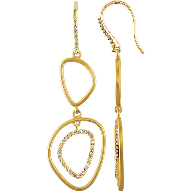 Sterling Silver & 14 KT Yellow Gold 3/8 Carat Total Weight Diamond Open Silhouette Earrings