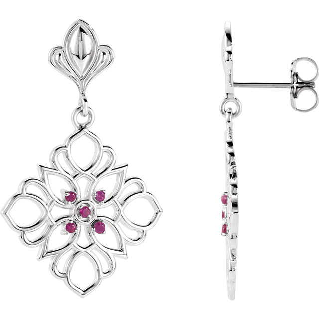 Quality Sterling Silver & 14 KT White Gold Ruby Decorative Earrings