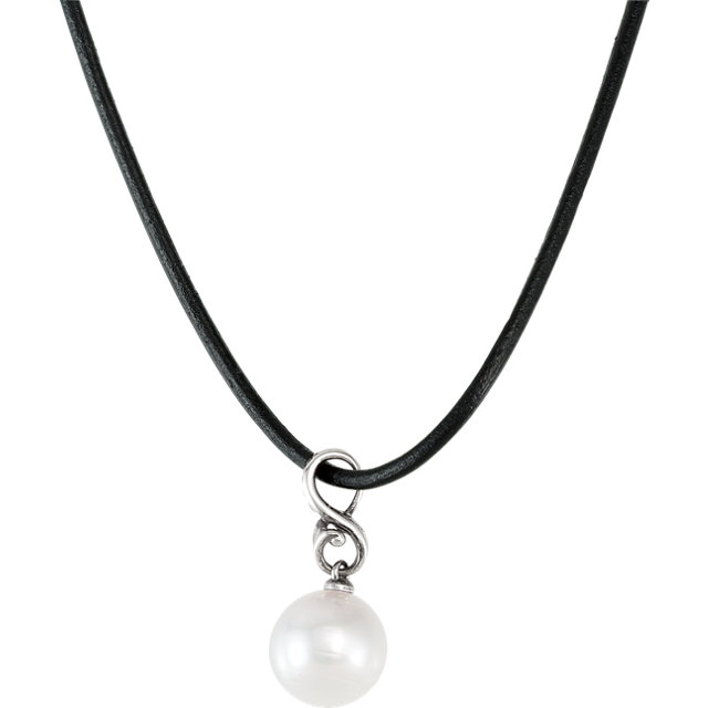 Sterling Silver & 14 KT White Gold South Sea Cultured Pearl Patina Finish Necklace