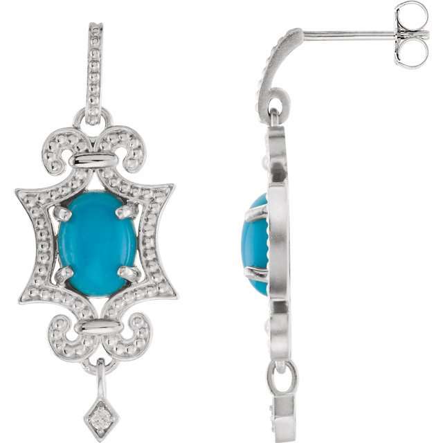 Must See Sterling Silver & 14 Karat White Gold Turquoise & .03 Carat Total Weight Diamond Earrings