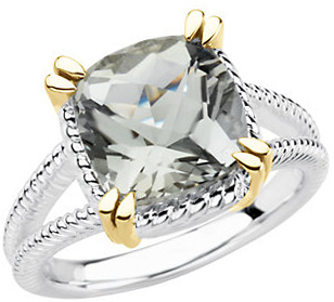 Shop Sterling Silver & 14 Karat Yellow Gold 10mm Checkerboard Green Quartz Ring