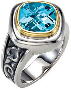 Fine Quality Sterling Silver & 14 Karat Yellow Gold 10mm Checkerboard Sky Blue Topaz Ring