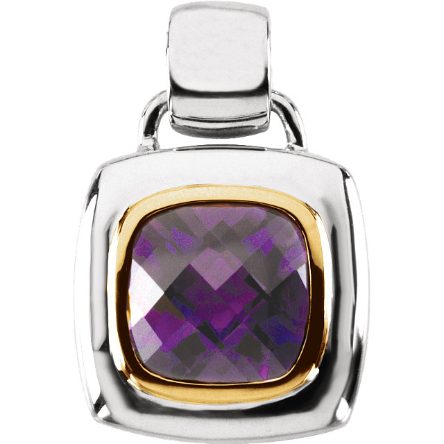 Perfect Gift Idea in Sterling Silver & 14 Karat Yellow Gold Amethyst Pendant