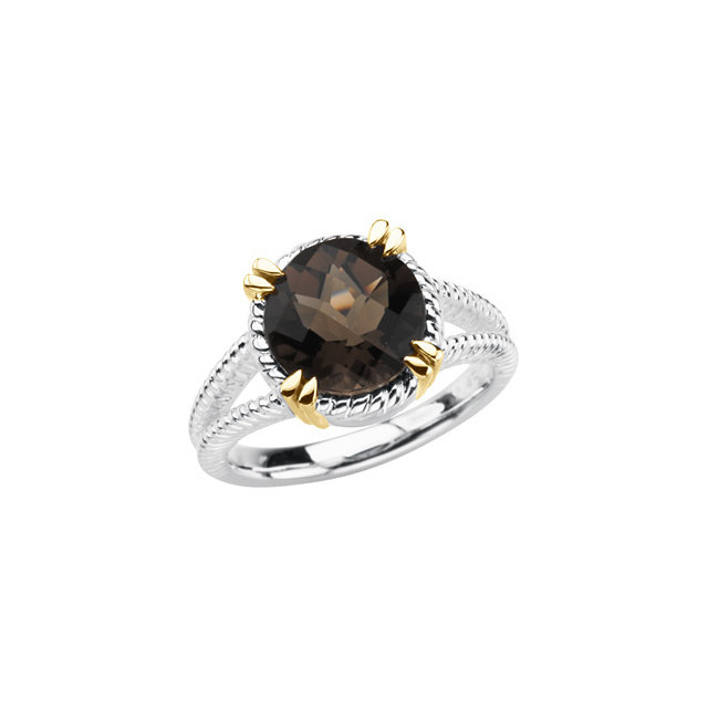 Wonderful Sterling Silver & 14 Karat Yellow Gold Checkerboard Smoky Quartz Rope Design Ring