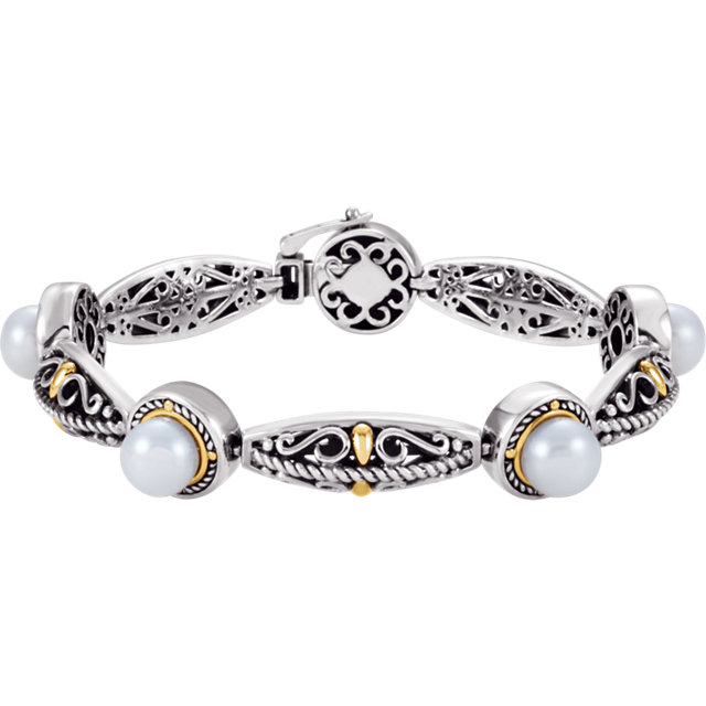Sterling Silver & 14 KT Yellow Gold Freshwater Cultured Pearl Bracelet