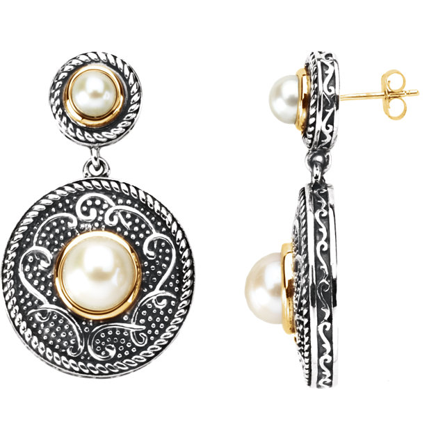 Sterling Silver & 14 KT Yellow Gold Freshwater Cultured Pearl Earrings