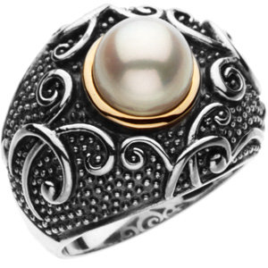 Sterling Silver & 14KT Yellow Gold Freshwater Cultured Pearl Ring Size 7