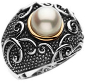 Sterling Silver & 14KT Yellow Gold Freshwater Cultured Pearl Ring Size 9