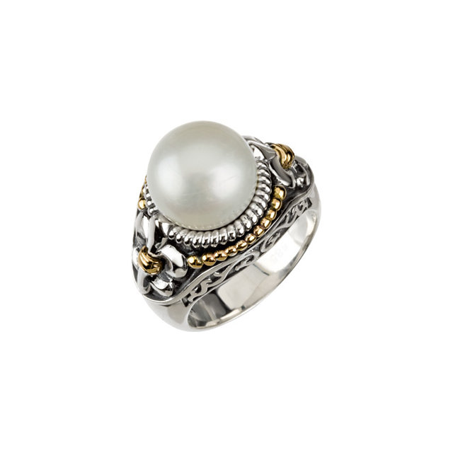 Genuine  Sterling Silver & 14 KT Yellow Gold Freshwater Cultured Pearl Ring Size 9