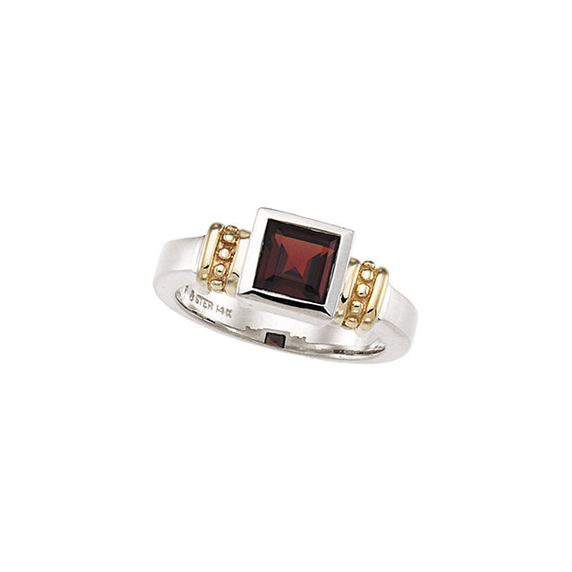 Very Nice Sterling Silver & 14 Karat Yellow Gold Garnet Mozambique Ring