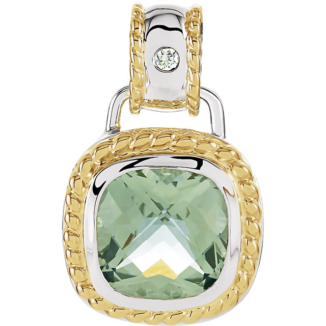 Eye Catchy Sterling Silver & 14 Karat Yellow Gold Green Quartz & .04 Carat Total Weight Diamond Pendant