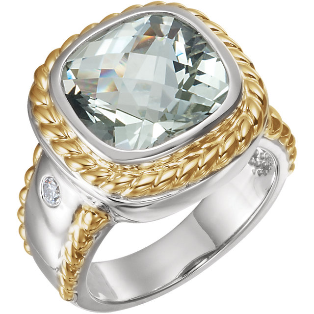 Beautiful Sterling Silver & 14 Karat Yellow Gold Green Quartz & 0.10 Carat Total Weight Diamond Ring