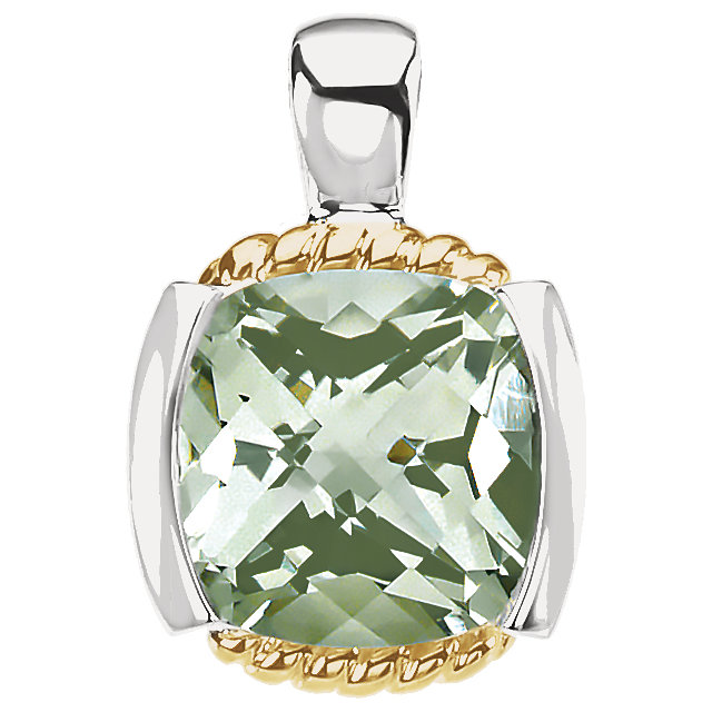 Fine Quality 14 Karat Yellow Gold & Sterling Silver Green Quartz Pendant