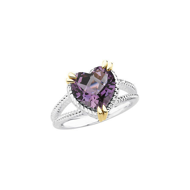 Gorgeous Sterling Silver & 14 Karat Yellow Gold Heart Amethyst Rope Design Ring