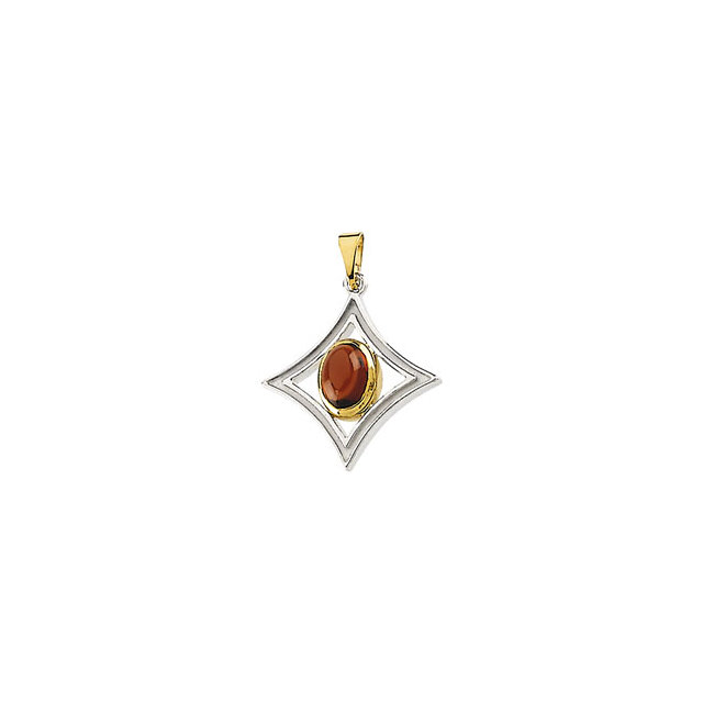 Must See Sterling Silver & 14 Karat Yellow Gold Mozambique Garnet Pendant