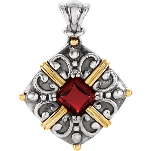 Sterling Silver & 14KT Yellow Gold Mozambique Garnet Pendant