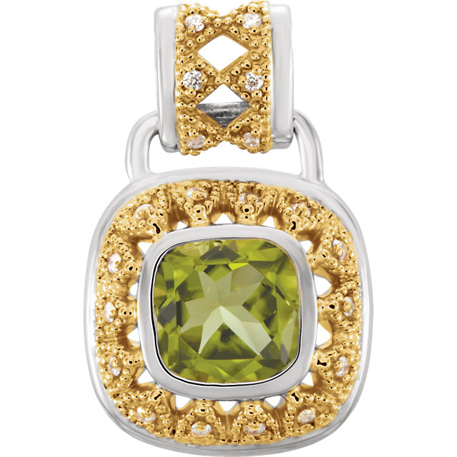 Stunning Sterling Silver & 14 Karat Yellow Gold Peridot & 0.12 Carat Total Weight Diamond Pendant