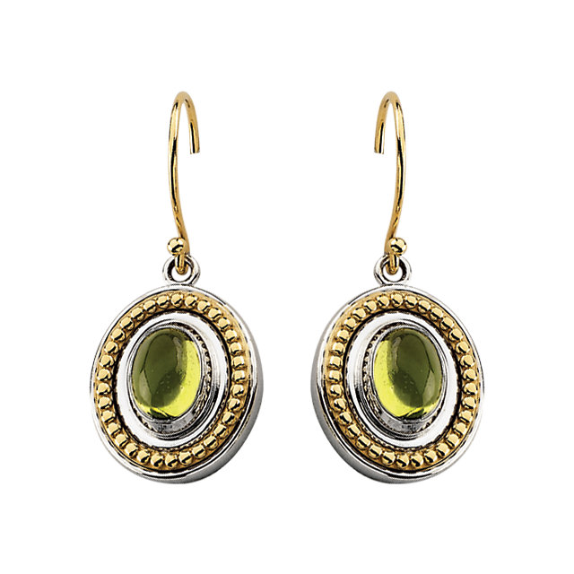 Chic Sterling Silver & 14 Karat Yellow Gold Peridot Earrings