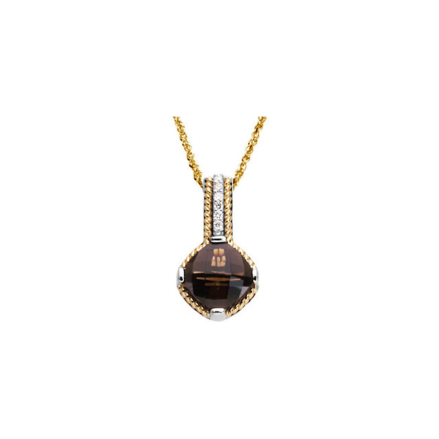 Fine Quality Sterling Silver & 14 Karat Yellow Gold Smoky Quartz & .07 Carat Total Weight Diamond Pendant
