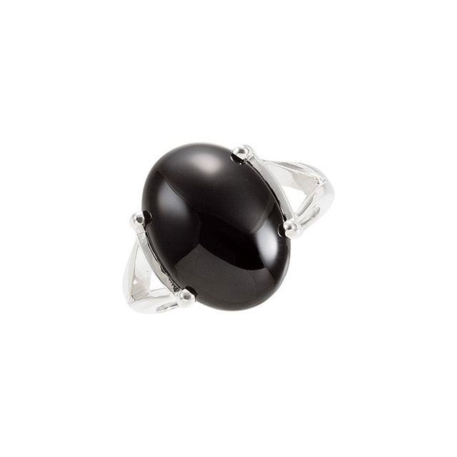 Surprise Her with  Sterling Silver 16x12mm Oval Onyx Cabochon Ring