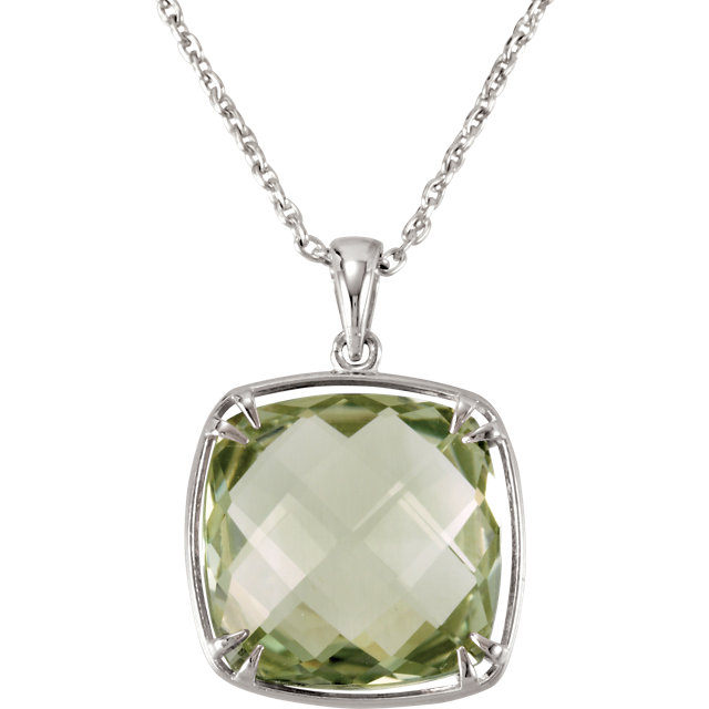 Beautiful Sterling Silver 16x16mm Green Quartz 18