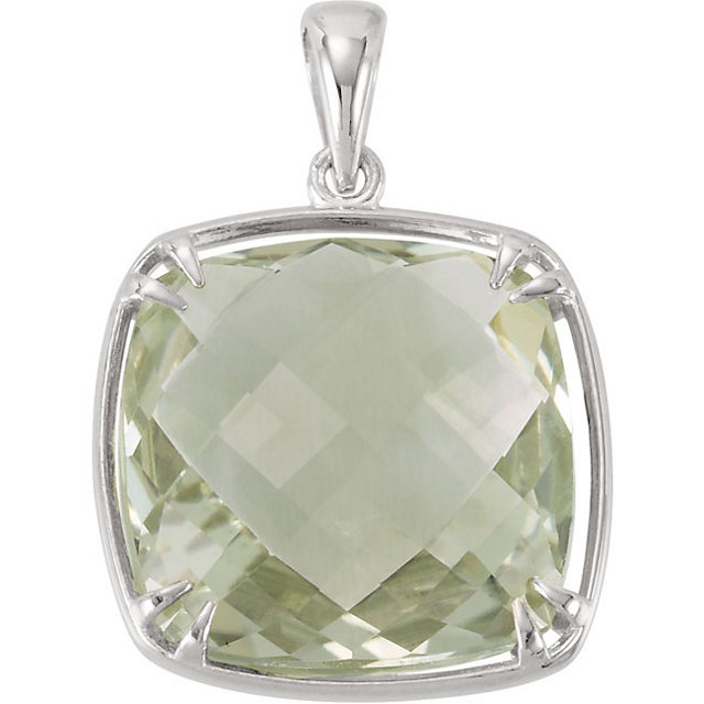 Gorgeous Sterling Silver 16x16mm Green Quartz Pendant
