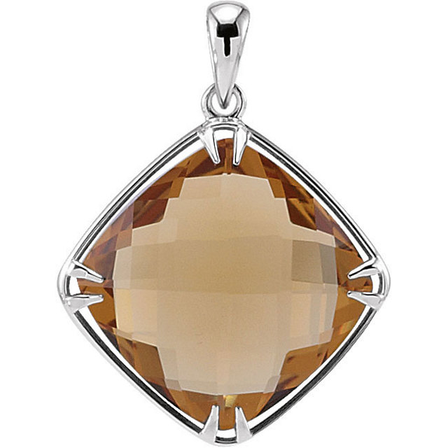 Must See Sterling Silver 16x16mm Honey Quartz Pendant