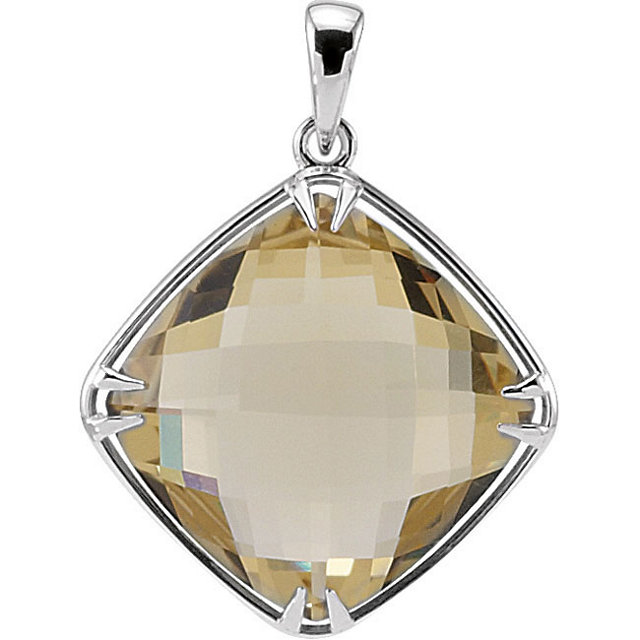 Sterling Silver 16x16mm Lemon Quartz Pendant