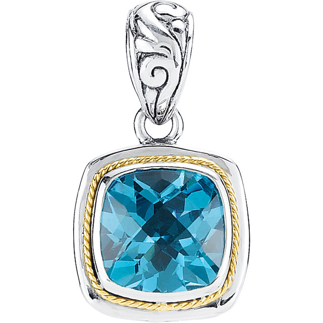 Sterling Silver & 18K Yellow 10mm Genuine Swiss Blue Topaz Pendant