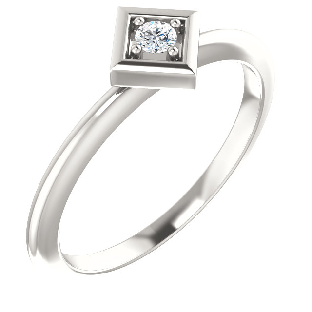 Stunning Sterling Silver 2.5mm Round .06 Carat Total Weight Diamond Stackable Geometric Ring