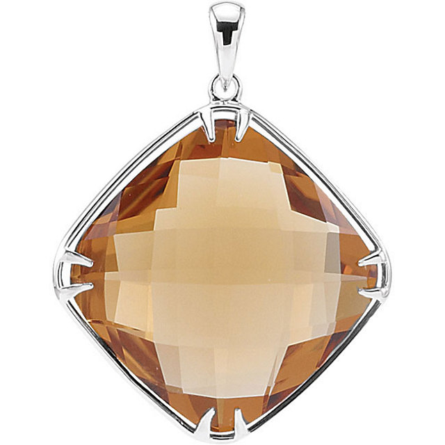 Fine Quality Sterling Silver 20x20mm Honey Quartz Pendant