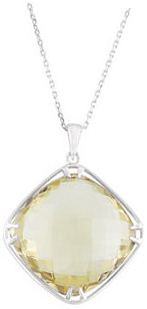 Sterling Silver 20x20mm Lemon Quartz 18